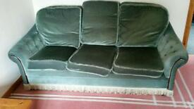 MUST SELL QUICKLY - Green velvet type fabric sofa and 2 matching armchairs complete with fire labels