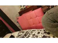 Girls pink leather bed with diamonds with mattress immaculate condition