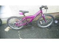 GIANT GIRLS MOUNTAIN BIKE,AGE 6 UPWARDS 12 INCH FRAME,,20, INCH WHEELS,GOOD CONDITION