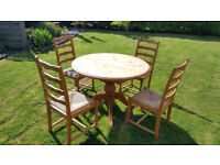 Pine Extending Dining Table And Four Matching Hardwood Chairs