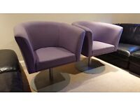 2 purple exhibition chairs/stools