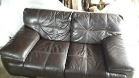 REDUCED !! Lovely Chocolate Brown Violino Leather 2 seater Sofa