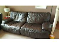 Brown Leather Settee & 2 Chairs