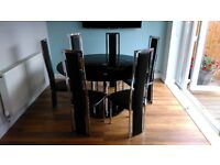 Black Glass Dining Room Table & Chairs (140cm) with Lazy Susan