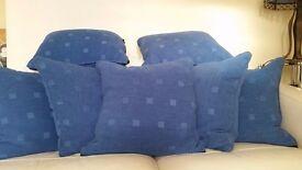 7 x light blue square cushions