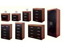 NEW Bedroom Furniture Range Wardrobe Chest of Drawers Bedside Table Black & Walnut