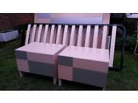 Double bed and orthopedic mattress plus two cabinets in excellent condition.