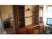 Solid Pine Ducal Wall Unit with internal lights & 2 floating shelves.