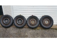 175 65 14 4 x steel wheels + 4 x tyres