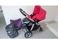 Icandy Pram with Red or Purple Accessories