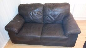 2 x 2 Seat Brown Leather Sofas in excellent condition - £250 for the pair or £150 each