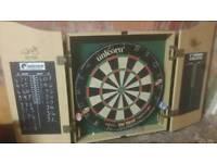 Winmau Phil Taylor dart board cabinet and darts