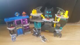 Imaginext bat caves and figures