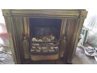 Antique Regency Brass Register Grate Fireplace Surround