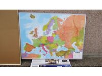 HUGE MAGNETIC MAP OF EUROPE (USED ONCE FOR PRESENTATION) PACKED