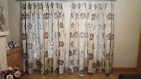 2 pairs of curtains with chrome curtain poles