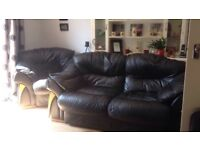 Real leather 2 seater sofa and chair