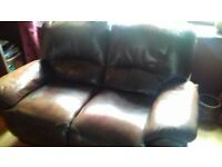 Brown leather two seater and three seater sofa's