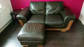 Leather sofa and foot stool