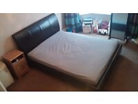 King size leather sleigh bed with mattress