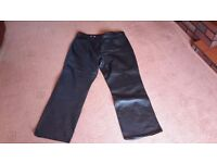 Black real leather womens trousers
