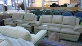 PRE OWNED Natuzzi Manual Reclining 3 Seater + 2 x Standard Armchairs in Beige Leather