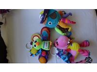 Bundle of lamaze baby toys. Dragon, Octopus and Peacock. Rattles, mirrors,