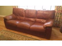 Brown Leather Sofa and 2 Armchairs
