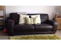 Dark brown leather sofa 3 seater