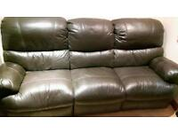 Leather sofa 3 seater with recliners