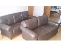 IKEA Leather Sofa (Brown) Med & Large size (2 & 3 seater Sofa)