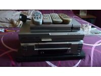 sanyo video recorder, thomson sky box, targa dvd player, and free view box