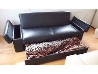 BLACK SOFA BED WITH STORAGE / FAUX LEATHER / FREE LOCAL DELIVERY CAN BE ARRANGED