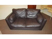 Brown Leather 2 seater sofa- Must go the evenings of Wednesday 29th or Thursday 30th June