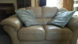 Leather cream 2 seater soga