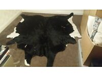 Black cow hide rug from Ikea