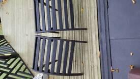 Pair of wooden garden lounger foot rests