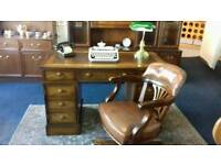 Captains Desk with Brown Leather Top and matching Captains Chair