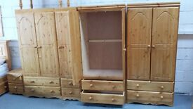 BRAND NEW pine wardrobes & chest of drawers,ladies wardrobes £ 129 each gents with 2 × Draws £ 139,