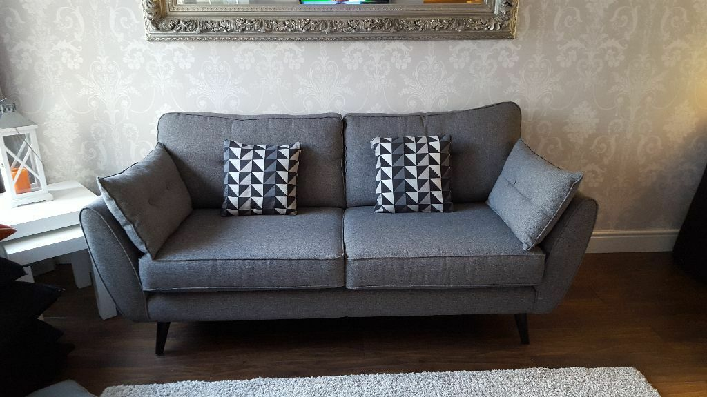 dfs french connection 3 seater zinc sofa in stonehaven. Black Bedroom Furniture Sets. Home Design Ideas