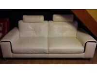 White real leather 3 seater sofa from Sterling Furn. like new