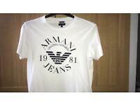 Mens Armani Jeans White Logo T-Shirt Small