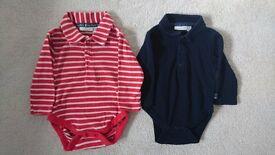 2 x JoJo Maman Bebe Boys Poloshirt Bodysuits 3-6 months
