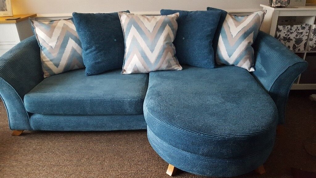 Teal Dfs 4 Seater Chaise Longue Sofa In Cherry