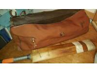 Vintage Cricket bat and stumps in bag