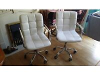 2 Desk Chairs, Modern White, Rolling Base, Adjustable