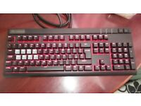 Corsair STRAFE Cherry MX Mechanical Gaming Keyboard, Red Backlighting, USB Pass-through