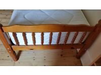 Single pine framed bed with mattress