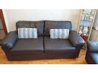 Two identical leather Sofa's, both 3 seater. Chocolate colour