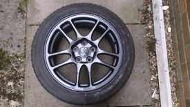 Set of 4 Mitsubishi Evolution 9 standard Enkei alloys and winter tyres.